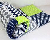 Baby Boy Blanket, Nursery Decor, Photography Prop, Fleece Blanket, Crib Blanket, Chevron Nursery, Navy Blue, Lime Green, Gray, Grey Chevron