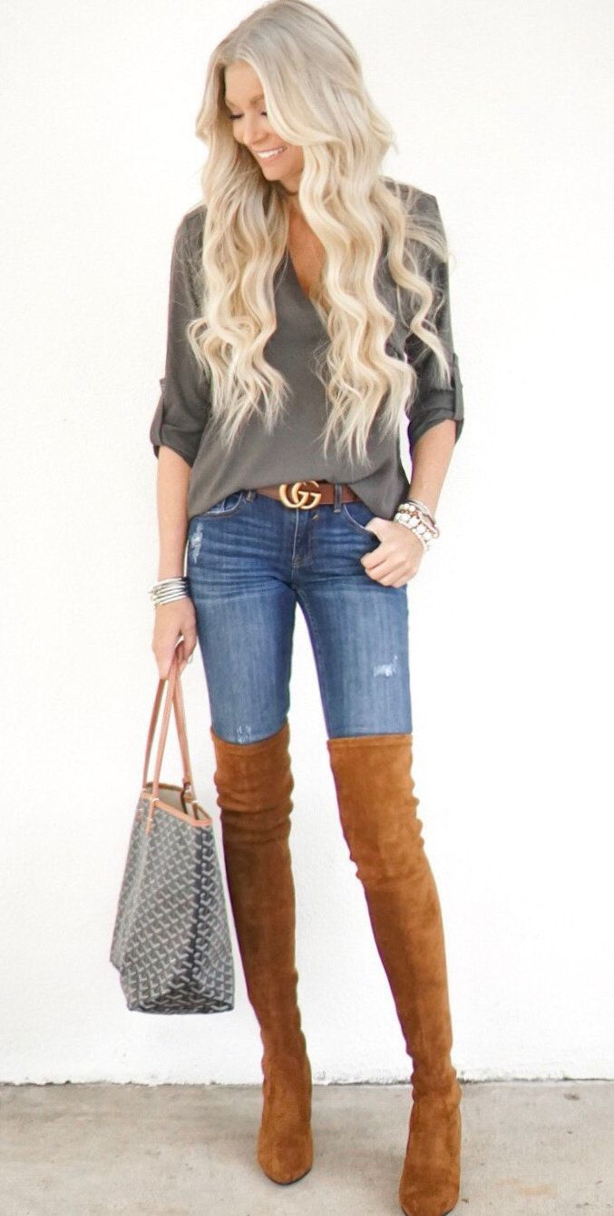 #fall #outfits women's gray scoop neck long sleeve shirt, blue washed denim jeans and pair of brown thigh high boots outfit. Click To Shop This Look.