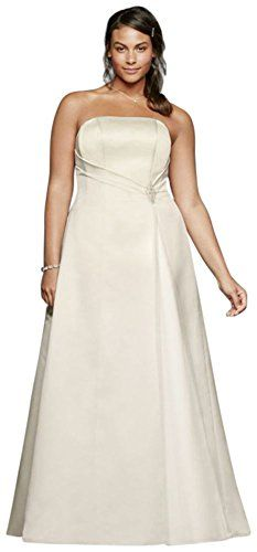 dd2295692ce Davids Bridal Beaded Satin Plus Size Wedding Dress with Brooch Style  9OP1257 Ivory 18W    BEST VALUE BUY on Amazon  SatinDresses