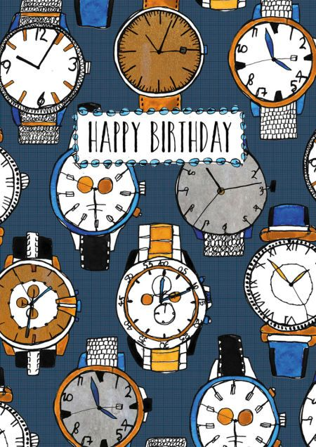 Rebecca Prinn - RP Male Icons Watches Birthday Greeting Card