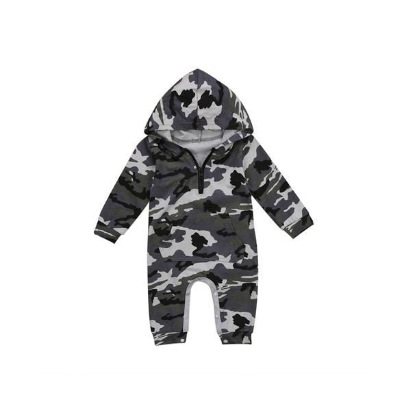 Newborn Baby Boys Clothes Long Sleeve Camouflage Hooded Romper Jumpsuit Outfits
