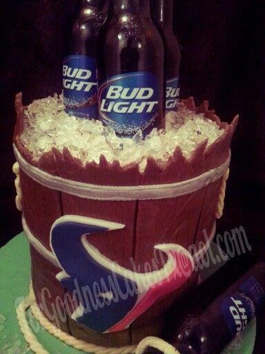 Wooden barrel beer cooler Texans bud light fondant cake with Sugar ice. Isomalt ice.