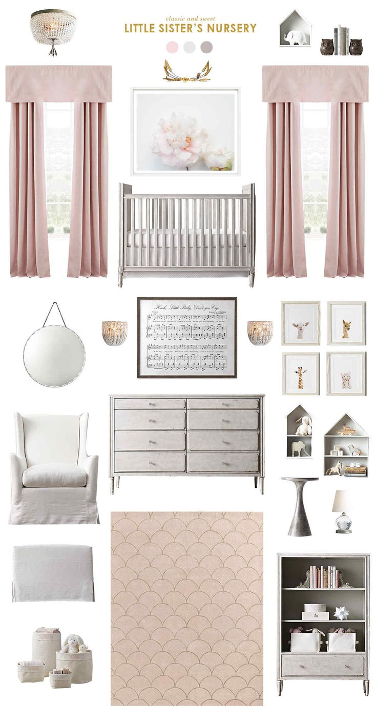 inspiration board created by joni lay of lay baby lay. featuring our marcelle crib, marcelle wide dresser, dauphine crystal flushmount, petite house shelving, wingback swivel glider and more.