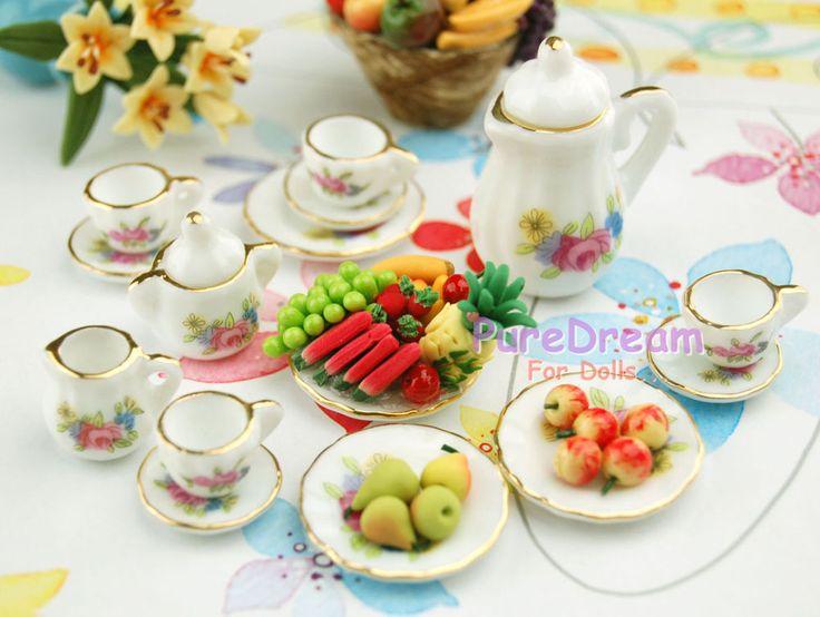 1:12 Dollhouse Porcelain CHINA Tea Set Dining ware rose 15PCS DC045 #112scaleminiature