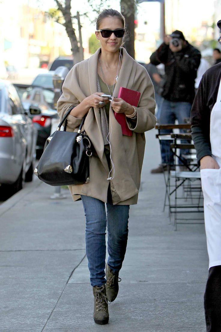 jessica laba in camel cape jeans