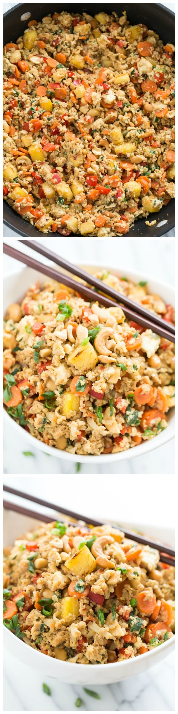 I'm head over heels for this Paleo Pineapple Fried 'Rice' - it's even delicious cold straight out of the fridge!