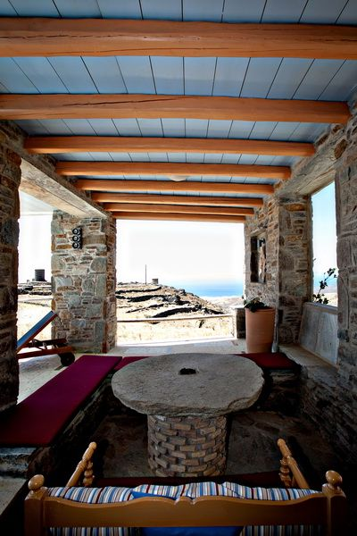 Enjoy the sea view from the dinning half covered area in a #vacation villa in #Tinos http://www.tinos-habitart.gr/yellow-house.php