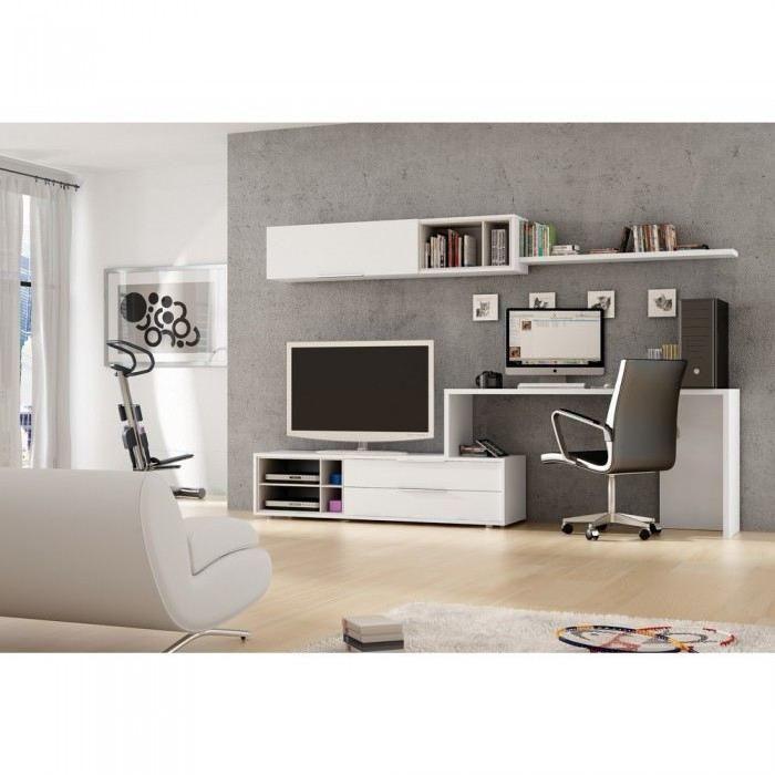 Meuble mural TV + Bureau Office Couleur Blanc Matière MDF - Composé de multiples modules de rangement design cet ensemble mural blanc et sable vous pe