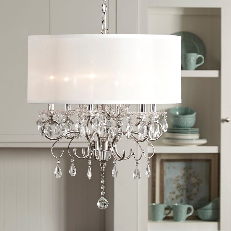 Update Any Dining Room With This Elegant Drum Shade Chandelier Intricate Glass Crystal Design That