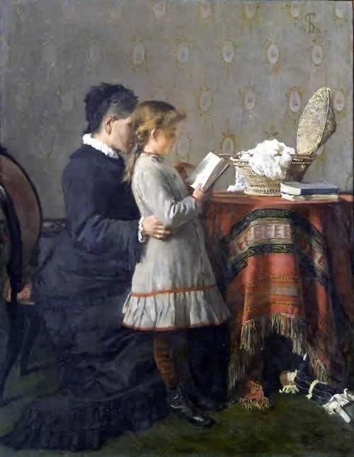 """Silvestro Lega (1826-1895) """"La lezione della nonna"""""""