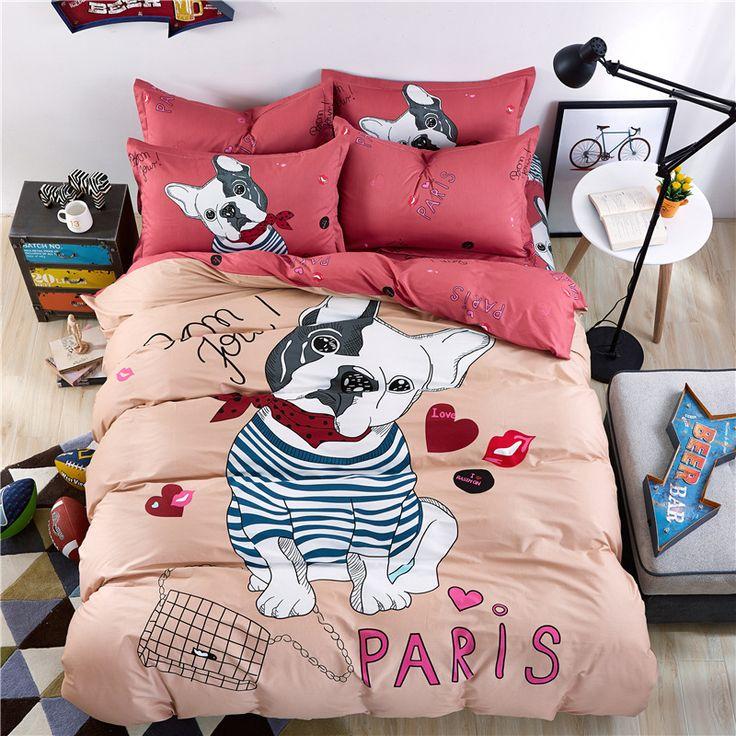 100% coton enfants/adulte de bande dessinée de lit couverture/lit chien motif feuilles/taie d'oreiller literie bagtwin reine roi taille ensemble de literie. dans Ensembles de literie de Maison & Jardin sur AliExpress.com | Alibaba Group
