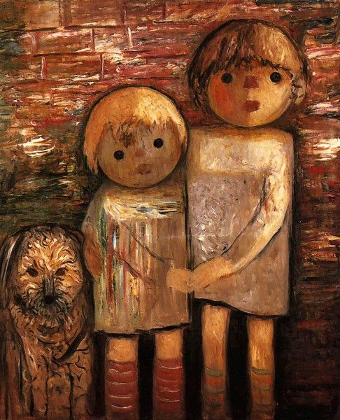 Two Children With A Dog Tadeusz Makowski, Polish 1882-1932