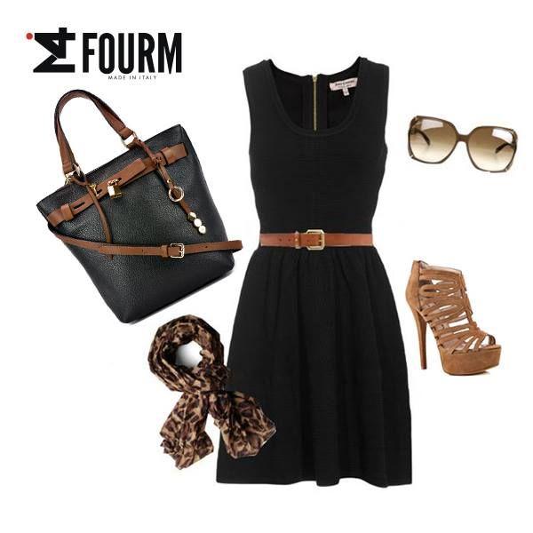 Buona giornata di primavera così, con questo outfit total black & cuoio! http://www.ifourm.it/vendita/borse-a-mano-e-tracolla-f-272_60.htm