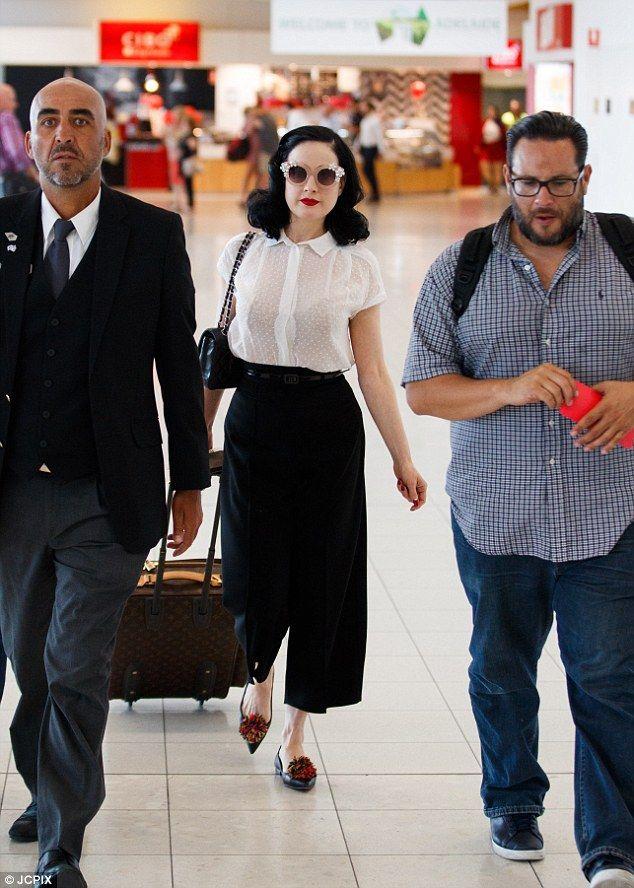 2e73d6950936 Dita Von Teese looks chic walking through Adelaide airport