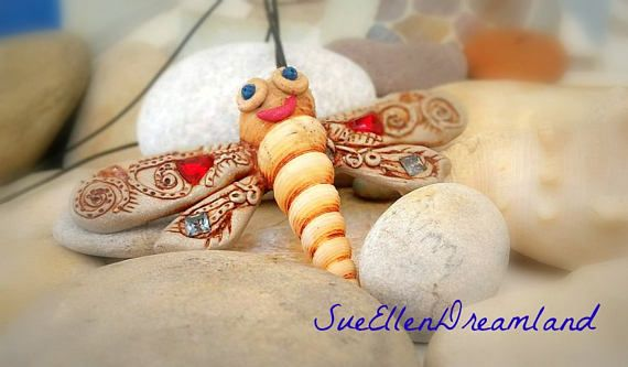 Sea shell pendant OOAK Dragonfly long pendant polymer clay