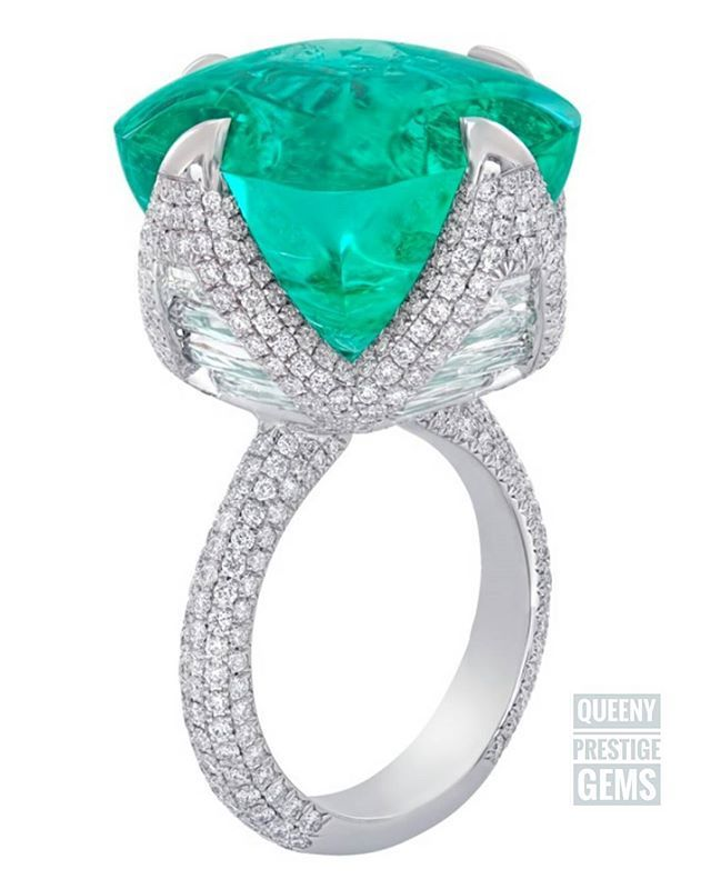 Nirav Modi's 26-carat cushion-cut Columbian emerald ring in 18-karat white gold…