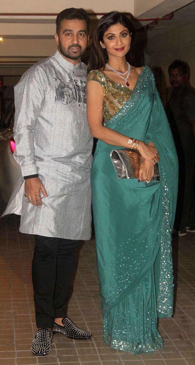 Raj Kundra with wife Shilpa Shetty at Saif Ali Khan's #Diwali bash. #Bollywood #Fashion #Style #Beauty #Desi #Saree