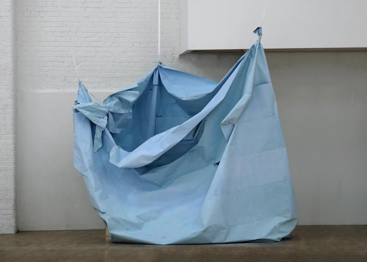Karla Black - Nothing Is A Must 2009 Sugar paper, chalk, ribbon, lipstick, glitter hairspray 312 x 300 x 182 cm