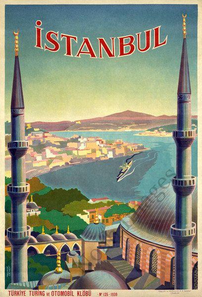 Vintage Travel Destination Art Poster Print Postcard ☮~ღ~*~*✿⊱  レ o √ 乇 !! ~ Istanbul #Istanbul ,#Turkey ✨✨ Fantastic pic! #crazyISTANBUL or visit CrazyISTANBUL.com by TheCrazyCities.com