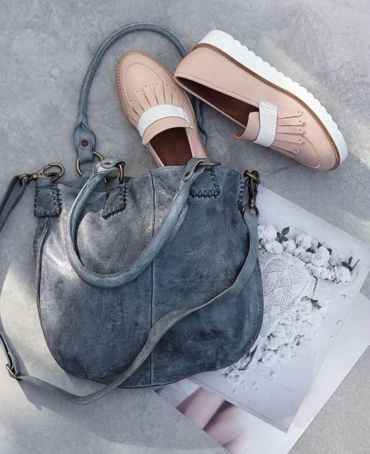 Die hat sich gewaschen! Handtasche aus gewaschenem grauem Leder in Vintage-Optik. #Tasche #Accessoires #Impressionenversand