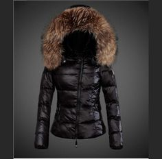 authentique Femme Moncler Femme Doudoune Capuche Fourrure Noir officiel boutique