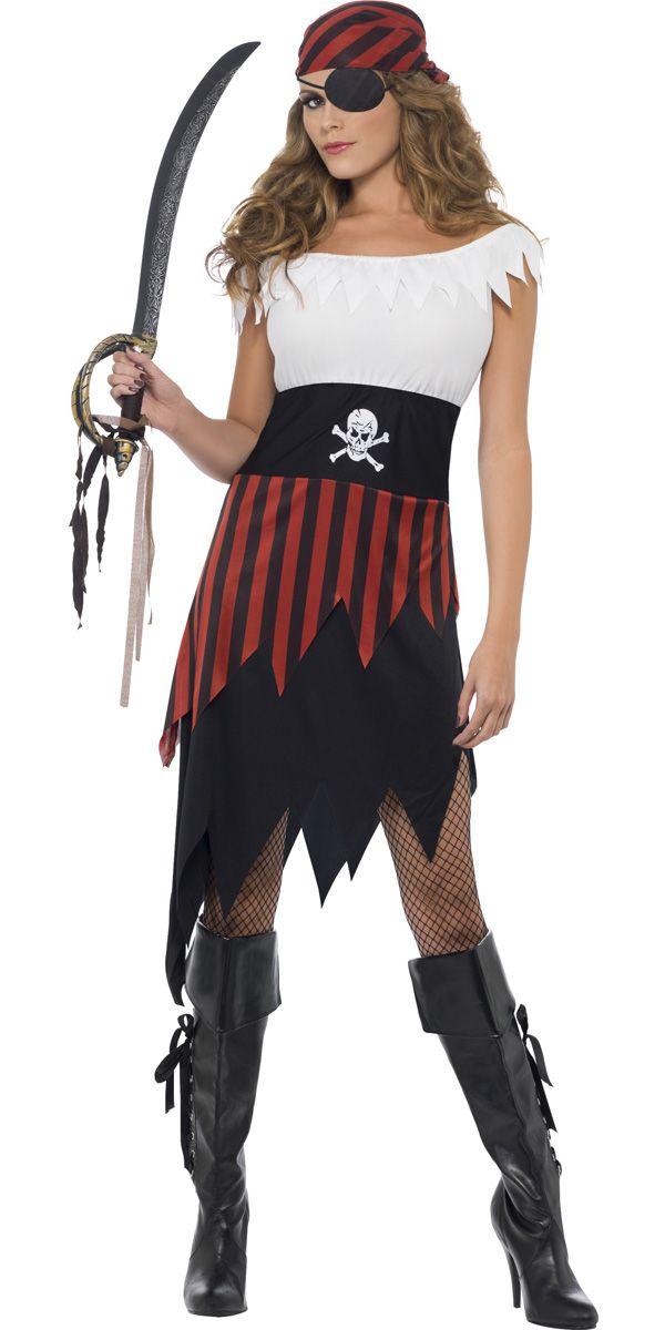 Piraten kostuum bestaande uit het jurkje in de kleuren zwart, wit en rood met punten aan de onderkant en langs de halslijn en de gestreepte bandana. Jurk Bandana 100% Polyester