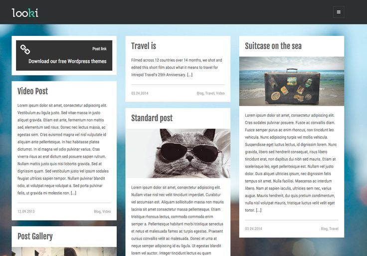 The Looki free WordPress blogging theme. More info: http://curatable.net/20-free-wordpress-themes-i-would-actually-use-to-start-a-new-blog-in-2016/