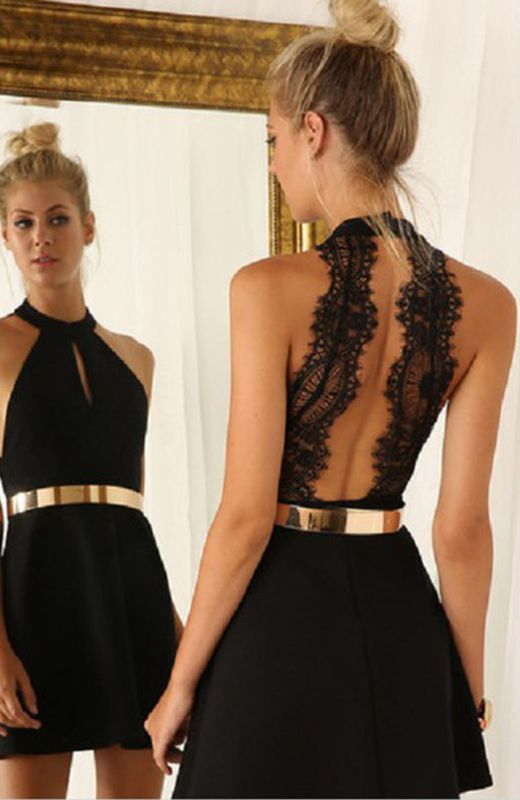 Halter Black Party Dresses,Knee length Black Cocktail Dresses,Open Back lace Homecoming Dresses
