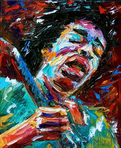 rock music art | Jimi Hendrix guitar art painting music rock blues jazz by Debra Hurd ...