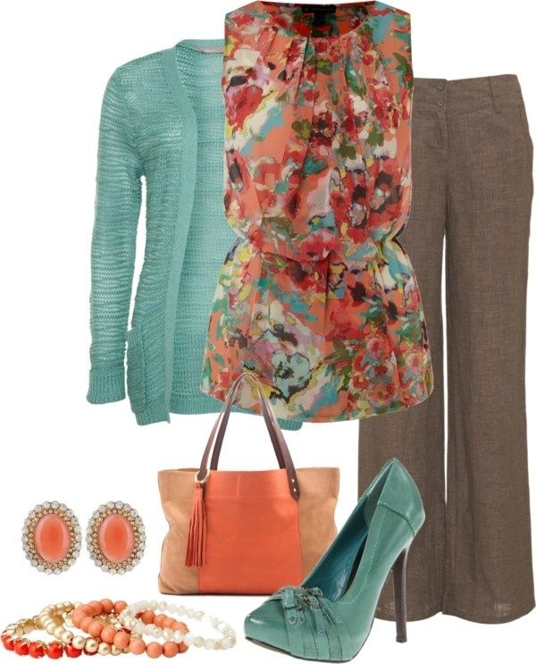 Coral and brown. My coral floral shirt? Might have to do black instead of brown.