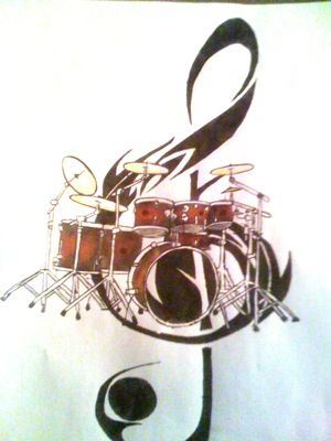 drum set tribal treble clef tattoo