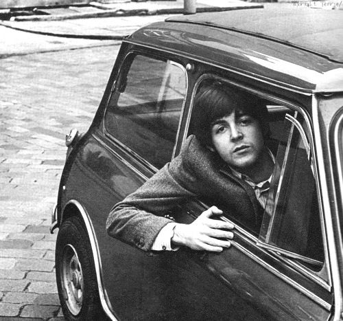 paul mccartney and mini cooper, doesn't get better than this. all the beatles had them