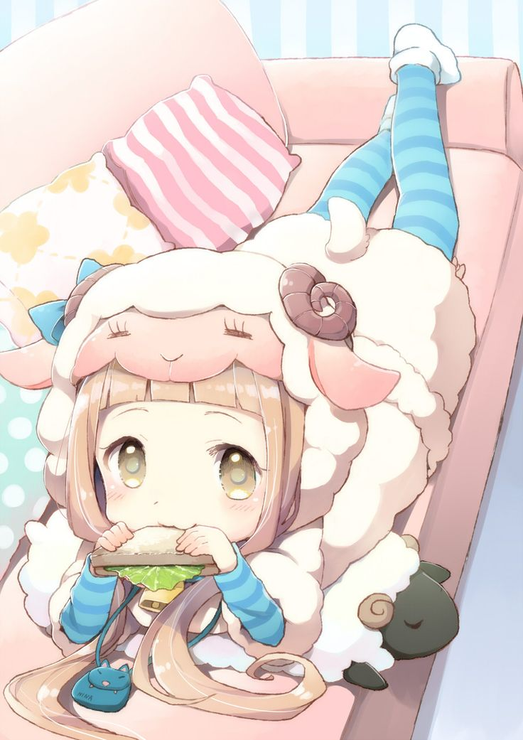 ✮ ANIME ART ✮ anime. . .lamb girl. . .sheep ears. . .horns. . .colorful. . .pastel. . .chibi. . .striped socks. . .plush toys. . .moe. . .cute. . .kawaii