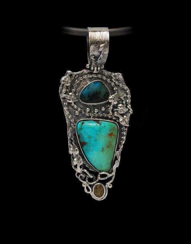 Handcrafted Turquoise Pendant. Opal Pendant. Peruvian Opal jewelry. by AlenaZenaJewelry on Etsy