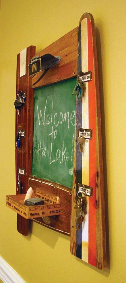 Hometalk :: Repurposed Vintage Water Ski & Yardsticks Chalkboard