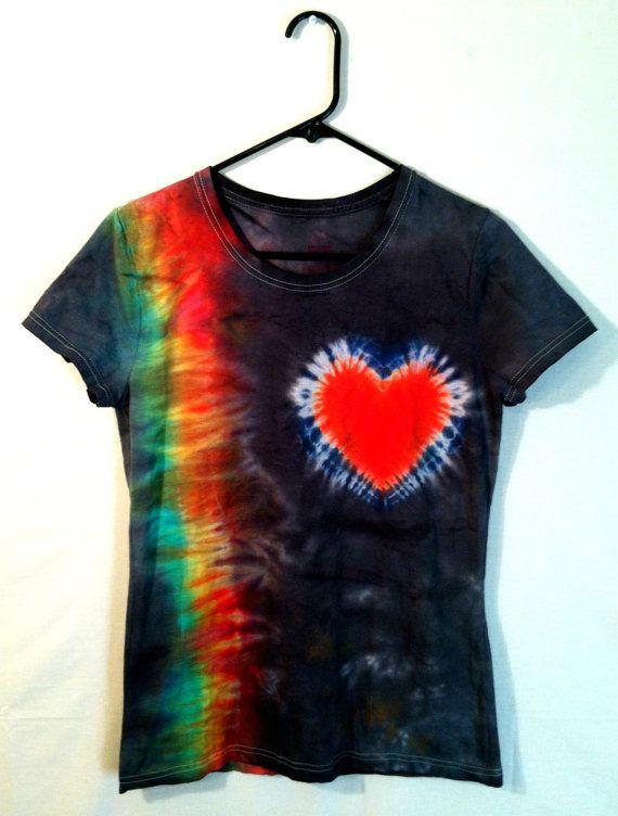 Tie Dye Shirt  Rainbow Heart  Stylish by RainbowEffectsTieDye