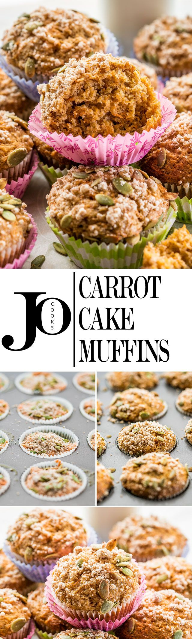 These incredible healthier carrot cake muffins come complete with a delicious streusel topping and pepitas for an extra crunch.