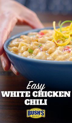 Easy White Chicken Chili: In just 10 minutes, you can put together this delicious white chili recipe, made with Bush's® White Chili Beans. Let it simmer for 30 minutes and dinner is served!