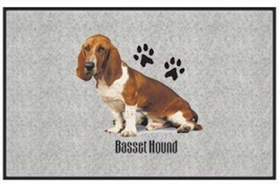 "Basset Hound - Sporting Dogs - Gray - Door and Welcome Mat by Express Yourself Mats. $24.88. Great Gift Idea!. Personalization Available (choose above) - EMAIL TEXT TO SELLER AFTER CHECKOUT. Door Mat Size 27""x18"". Non-Skid Backing. Made in USA. Enjoy the Basset Hound design heat pressed on this light-weight, low pile, woven polyester door mat. This decorative welcome mat measures 27 x 18 inches, is 1/8 inch thick and features a non-skid latex coating on the back..."
