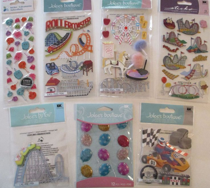 Scrapbook Stickers Lot Jolee's Boutique & Sticko CARNIVAL RIDES Roller…