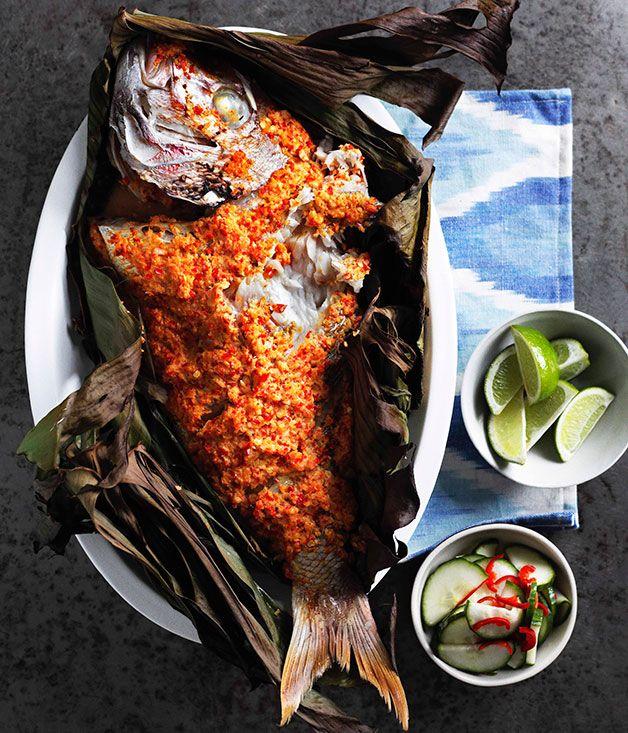 Australian Gourmet Traveller recipe for Grilled fish in banana leaves with cucumber pickle (Ikan panggang dengan acar ketimun)