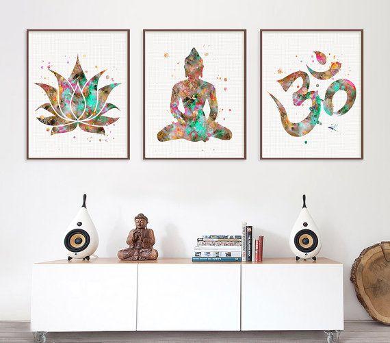 Cuadros de Buda, arte budista, 3 impresiones Set, loto, símbolo de Om, Buda, Yoga Studio, decoración de la pared de Yoga, arte de la meditación, Zen arte, acuarela