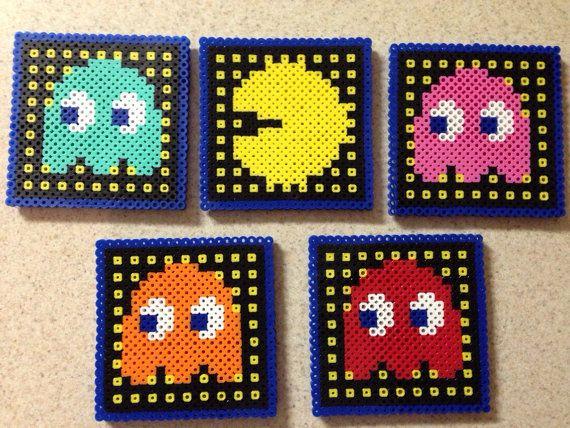 Pacman sous-verres set de 5 sous-verre de perle de par IMeltBeads