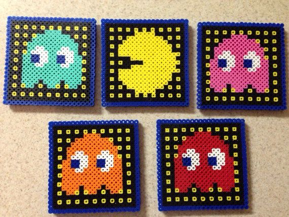 Posavasos de Pacman - juego de 5 posavasos de cuentas perler