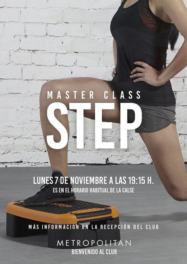 Mañana, lunes 7 de noviembre a las 19:15 h. realizaremos una Master Class de Step en el horario habitual de la actividad en Metropolitan Sagrada Familia.  Más información en la Recepción del Club.