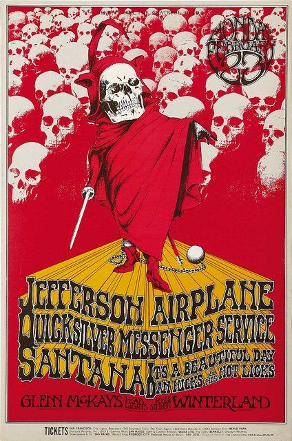 """Classic rock concert psychedelic poster - Jefferson Airplane """"A Benefit For The Grateful Dead"""" Concert Poster                                               Poster Art by Randy Tuten"""