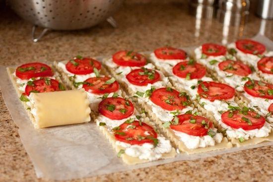 Caprese Lasagna Roll Ups - Click image to find more food & drink Pinterest pins