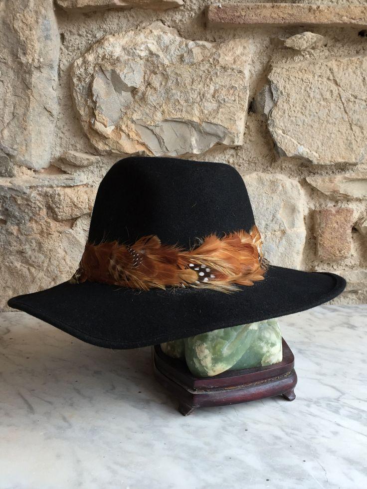 Cappello nero con piume/ Cappello Vintage Nero / Copricapo donna Fedora / Cappello nero / Cappello vintage nero by nonaprirequellarmadi on Etsy