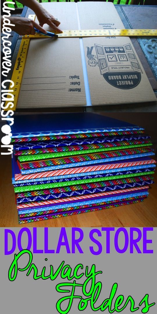 Here is a photo tutorial on how to make privacy folders from dollar store…