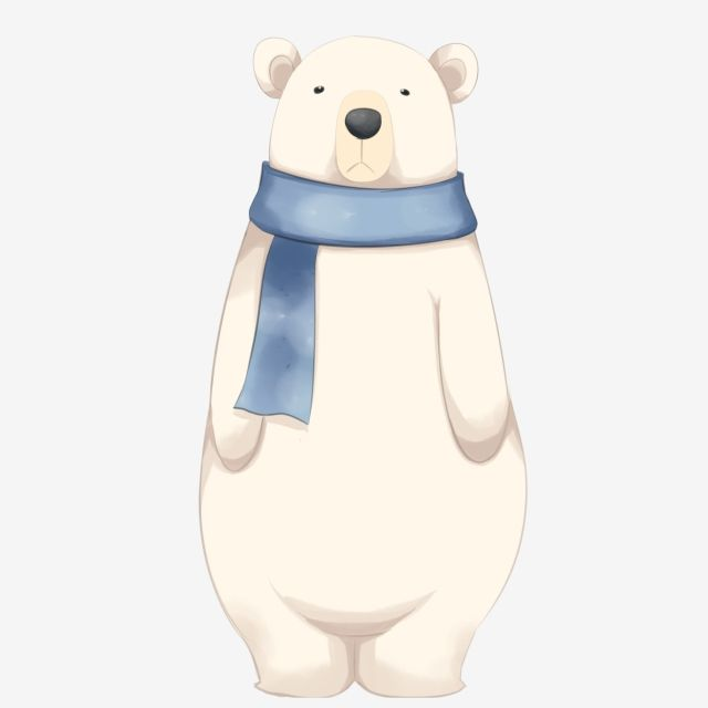 Hand Drawn Polar Bear Illustration Beige Polar Bear Cold Shivering Polar Bear Polar Bear Wearing A Scarf Blue Scarf Animal Standing Bear Png Transparent Clip Polar Bear Illustration Polar Bear Cartoon
